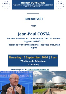Thursday, 15 September 2016 - Breakfast with Jean-Paul Costa, Former President of the European Court of Human Rights