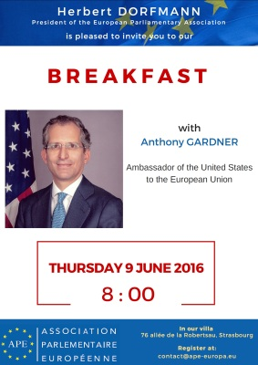 Thursday, 9 June 2016 - Breakfast with Anthony Gardner, US Ambassador to the EU