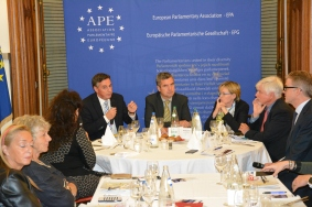 David McAllister, MEP, Herbert Dorfmann, MEP and President of the APE, Mairead McGuinness, Vice President of the European Parliament, Bernard Genton, Professor of American civilization at the University of Strasbourg, and Daniel Köster, Spokesperson of the EPP Group in the European Parliament