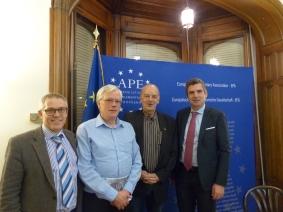 Reindhard Reck, Journalist of the Mittelbadische Presse, Kai Littmann, Editor of Eurojournalist, Herbert Dorfmann, MEP and President of the APE