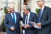 Martin Schulz, President of the European Parliament and member of the APE, Roland Ries, Mayor of Strasbourg, and Drahoslav Stefaneck, Permanent Representative of the Republic of Slovakia to the Council of Europe