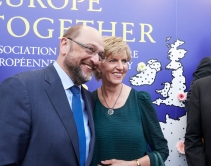 Martin Schulz, President of the European Parliament and member of the APE, and Inese Vaidere, MEP