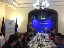 Breakfast in the APE's premises with Ambassador Rolands Lappuke, Permanent Representative of Latvia to the Council of Europe