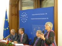 Zoran Popovic, Permanent Representative of the Republic of Serbia to the Council of Europe, Herbert Dorfmann, MEP and President of the APE, Eduard Kukan, MEP, and Julie Ward, MEP and member of the APE