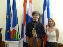 Frank Van Lamsweerde, President of the Netherlands Association of Strasbourg, Professor of the Conservatoire of Strasbourg, Cello, and Elyette Weil, Professor of the Conservatoire of Strasbourg, Piano