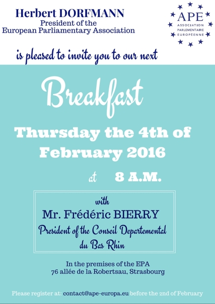 Thursday 4 February 2016 – Breakfast with Frédéric Bierry, President of the Conseil Départemental du Bas-Rhin