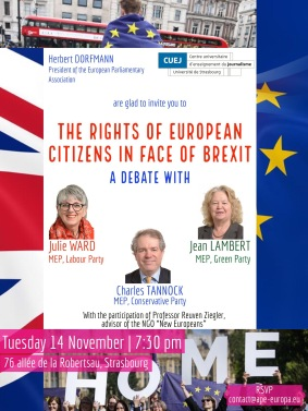 DEBATE The rights of European citizens in face of Brexit Tuesday 14 November 7 30 pm
