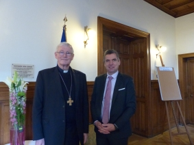 Monsignor Jean-Pierre Grallet, Archbishop of Strasbourg, and Herbert Dorfmann, MEP and President of the APE