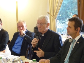 Peter Jahr, MEP and member of the APE, Monsignor Jean-Pierre Grallet, Archbishop of Strasbourg, and Bernd Kölmel, MEP and member of the APE