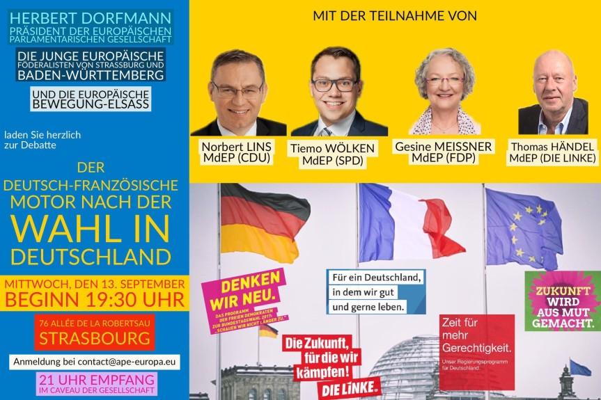 EINLADUNG Der deutsch-französische Motor nach der Wahl in Deutschland 13 September 2017