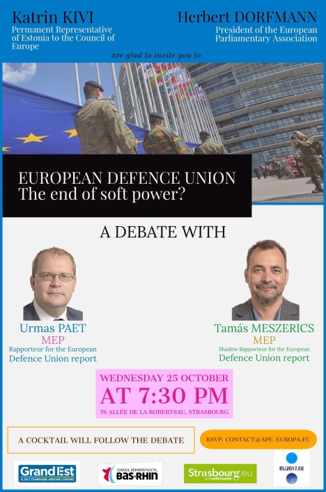 DEBATE European Defence Union. The end of soft power- 25 October, 7 30 pm