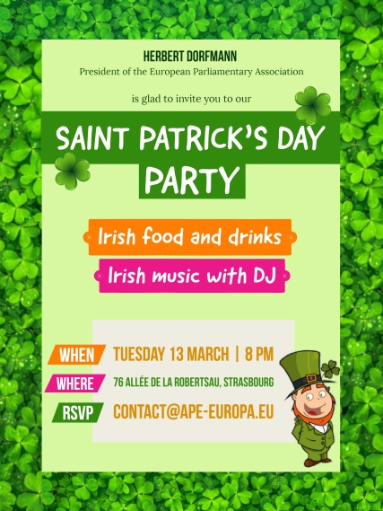 ST PATRICK'S DAY PARTY - 13 March, 8 pm