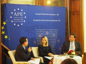 Debate with Minister Hoxha and MEP Mandl